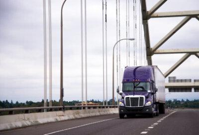 running truck on the bridge